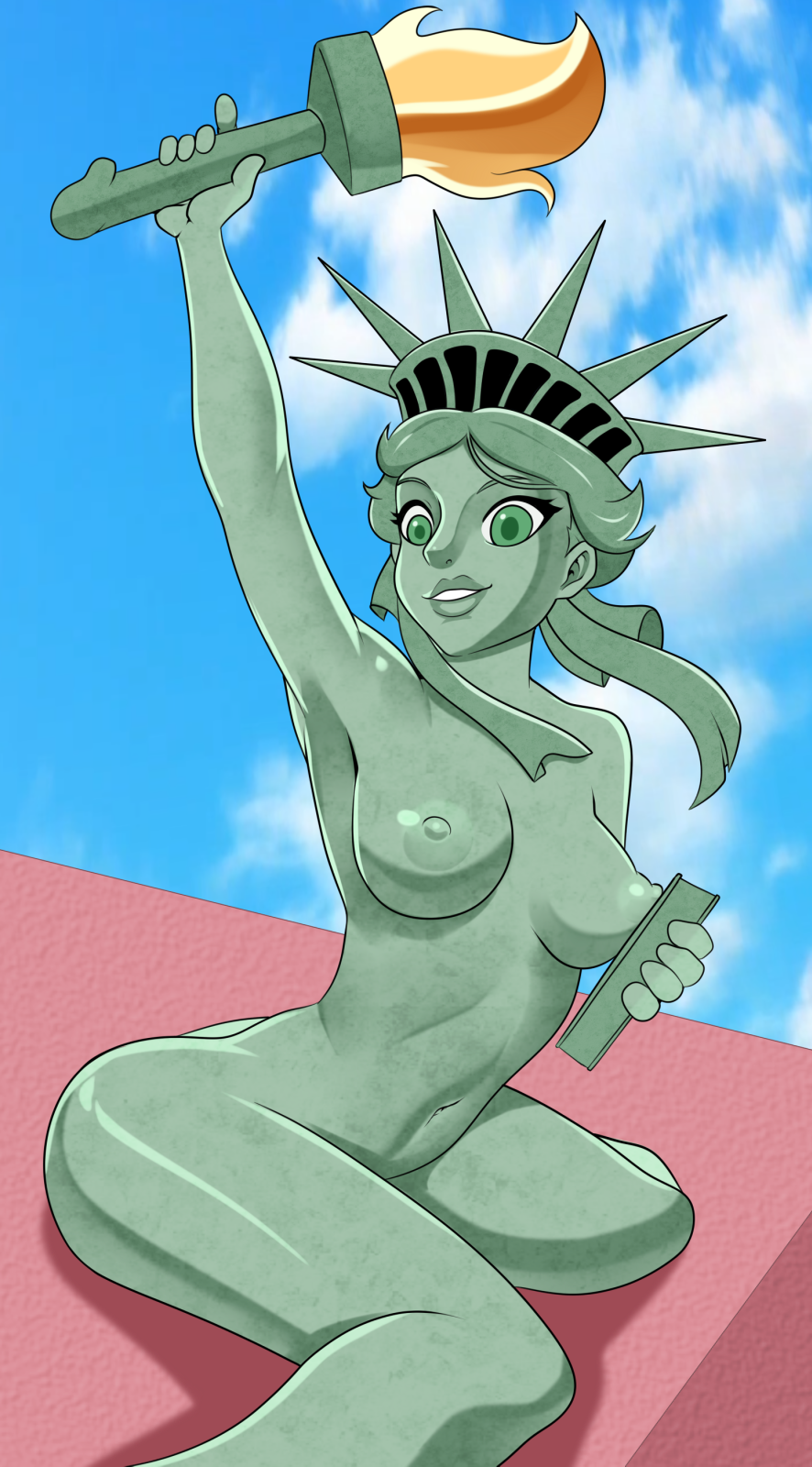 kissing liberty lady justice statue of The grim adventures of billy and mandy substitute teacher